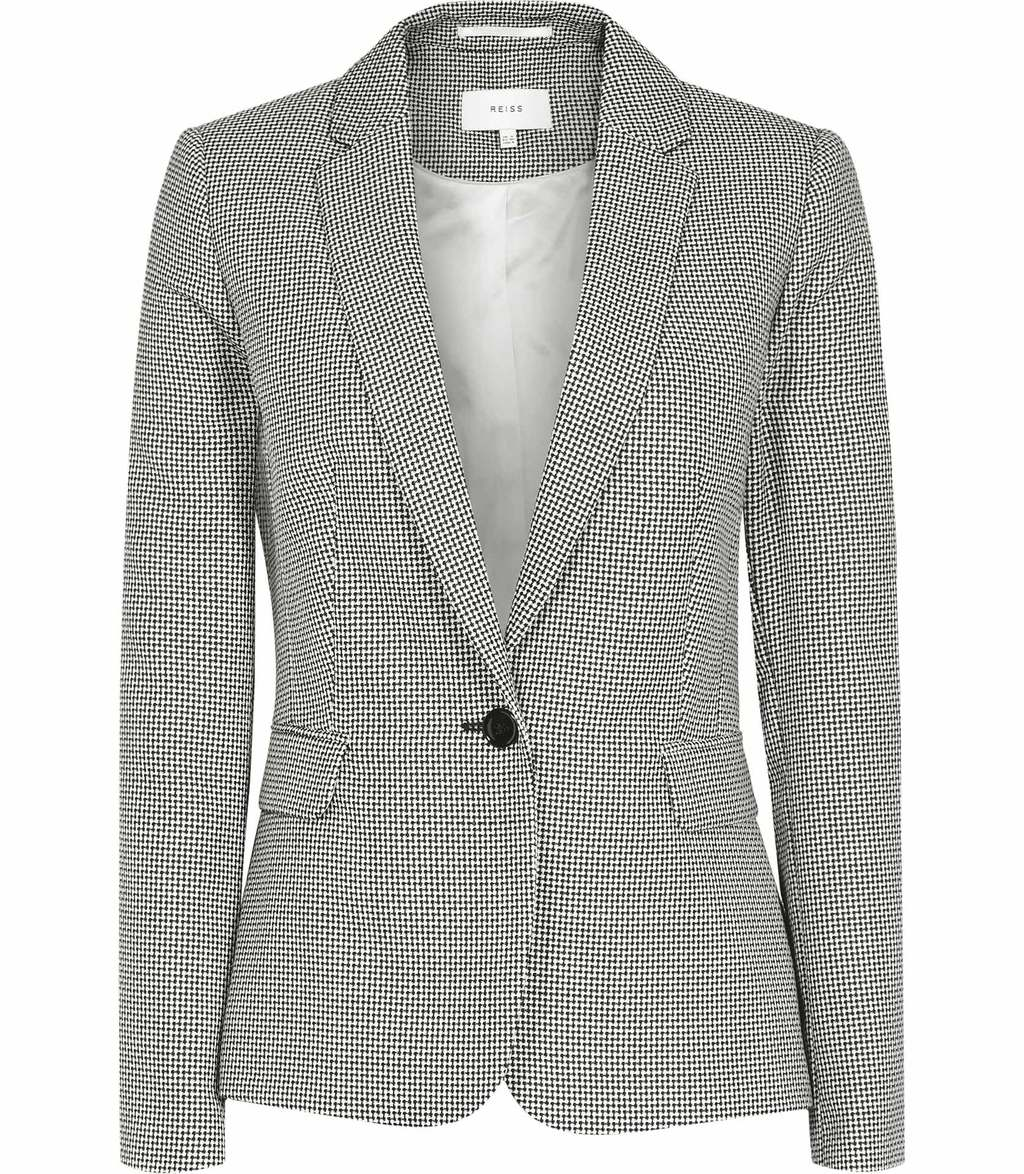 Maxine Jacket Womens Patterned Single Breasted Blazer In White - pattern: plain; style: single breasted blazer; collar: standard lapel/rever collar; predominant colour: mid grey; occasions: work; length: standard; fit: tailored/fitted; fibres: cotton - mix; sleeve length: long sleeve; sleeve style: standard; collar break: medium; pattern type: fabric; texture group: woven light midweight; season: s/s 2016; wardrobe: investment