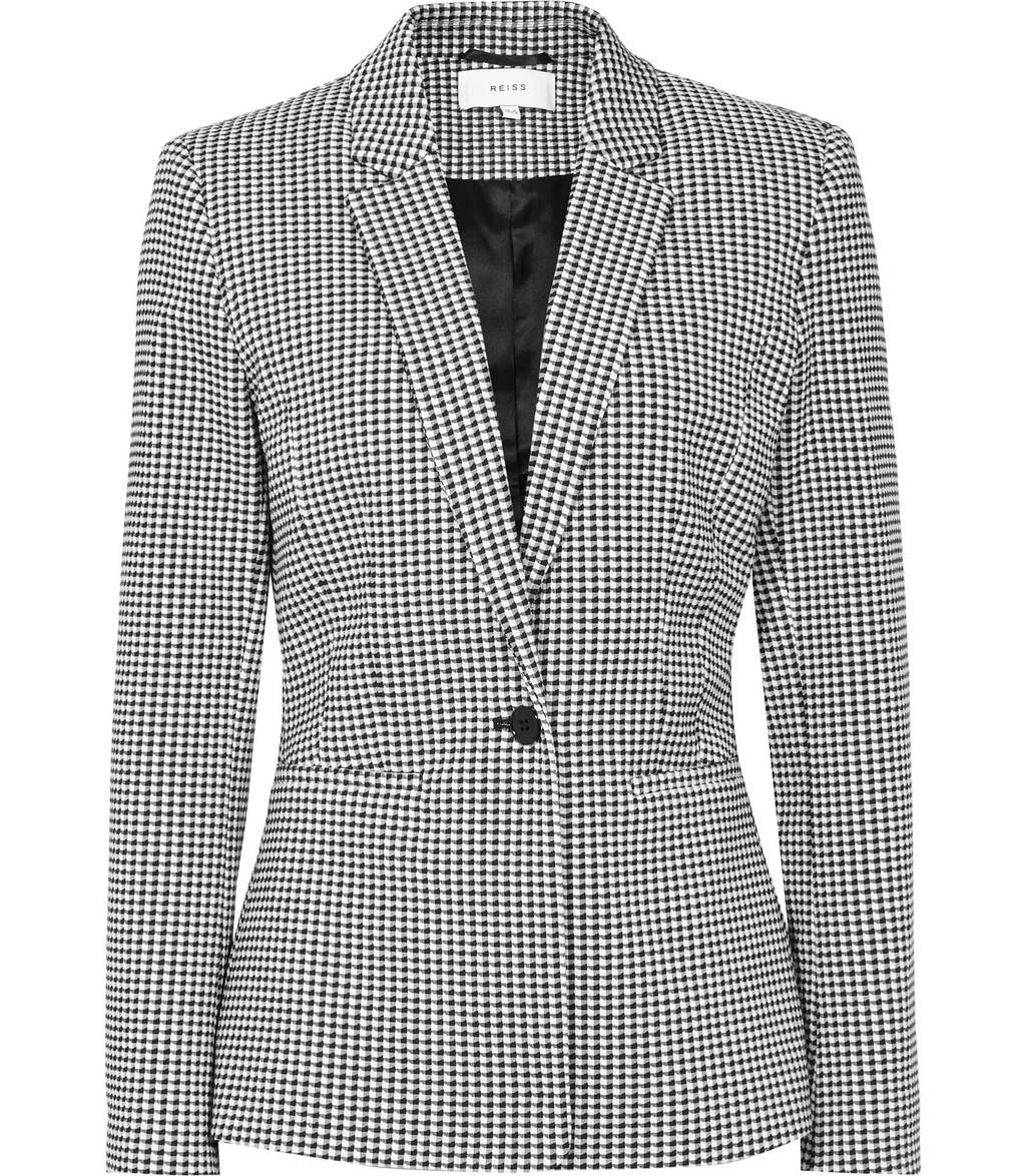 Linear Jacket Womens Checked Blazer In White - pattern: checked/gingham; style: single breasted blazer; collar: standard lapel/rever collar; secondary colour: white; predominant colour: black; occasions: work, creative work; length: standard; fit: tailored/fitted; fibres: cotton - mix; sleeve length: long sleeve; sleeve style: standard; trends: monochrome; collar break: medium; pattern type: fabric; texture group: woven light midweight; season: s/s 2016; wardrobe: investment
