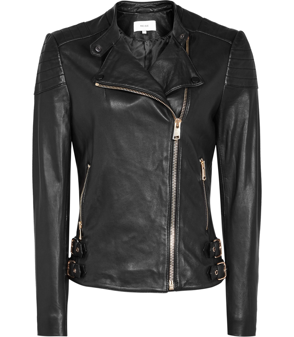 Shelby Womens Leather Biker Jacket In Black - pattern: plain; style: biker; collar: asymmetric biker; predominant colour: black; occasions: casual, creative work; length: standard; fit: tailored/fitted; fibres: leather - 100%; sleeve length: long sleeve; sleeve style: standard; texture group: leather; collar break: medium; pattern type: fabric; season: s/s 2016; wardrobe: basic