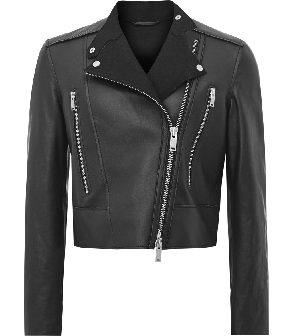 Phoebe Womens Bonded Leather Jacket In Black - pattern: plain; style: biker; collar: standard biker; fit: slim fit; predominant colour: black; occasions: casual, evening, creative work; length: standard; fibres: leather - 100%; sleeve length: long sleeve; sleeve style: standard; texture group: leather; collar break: high/illusion of break when open; pattern type: fabric; season: s/s 2016; wardrobe: basic
