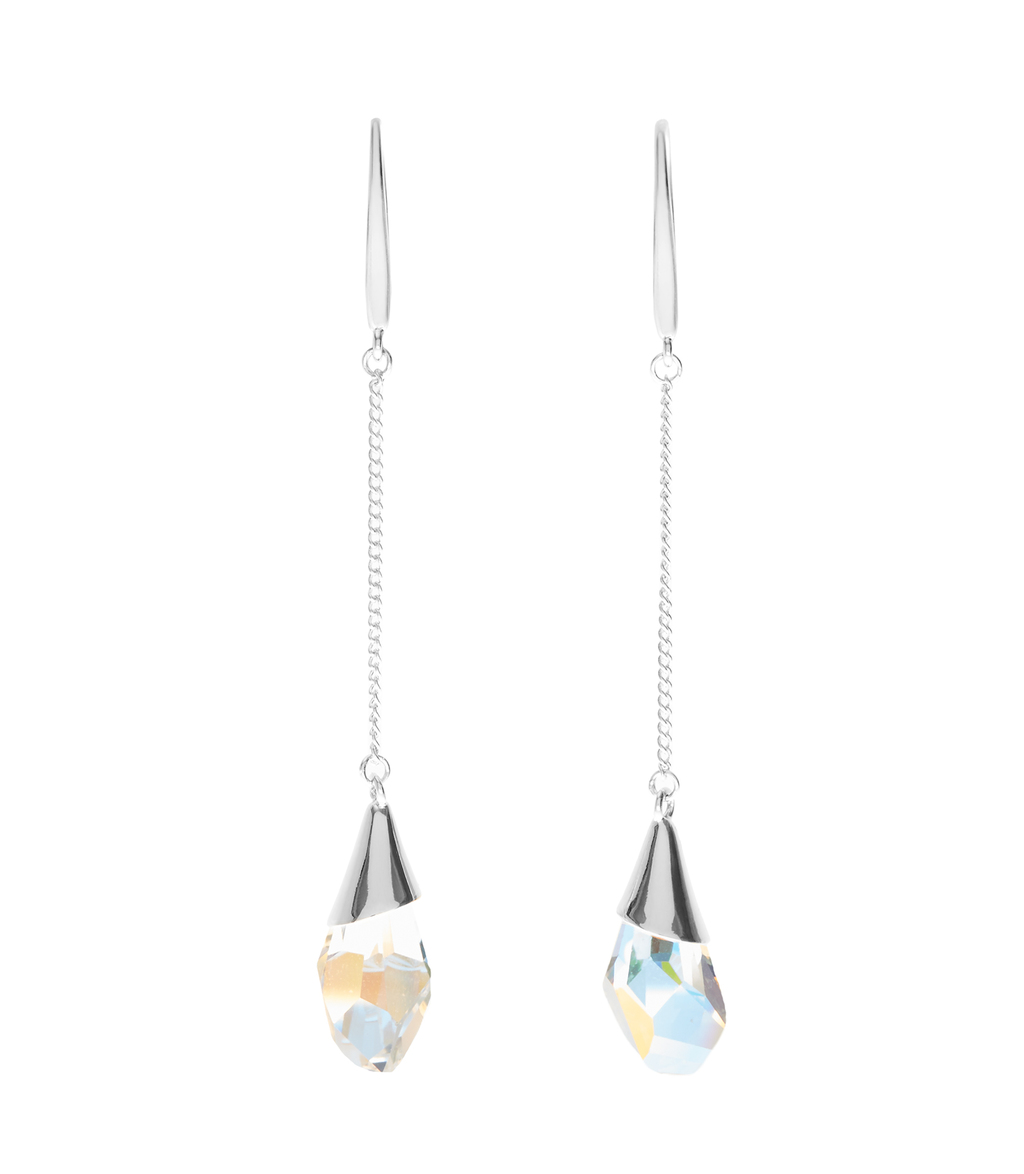 Kea Womens Drop Earrings With Crystals From Swarovski In Grey - predominant colour: silver; occasions: evening, occasion; style: drop; length: extra long; size: standard; material: chain/metal; fastening: pierced; finish: plain; embellishment: crystals/glass; season: s/s 2016; wardrobe: event