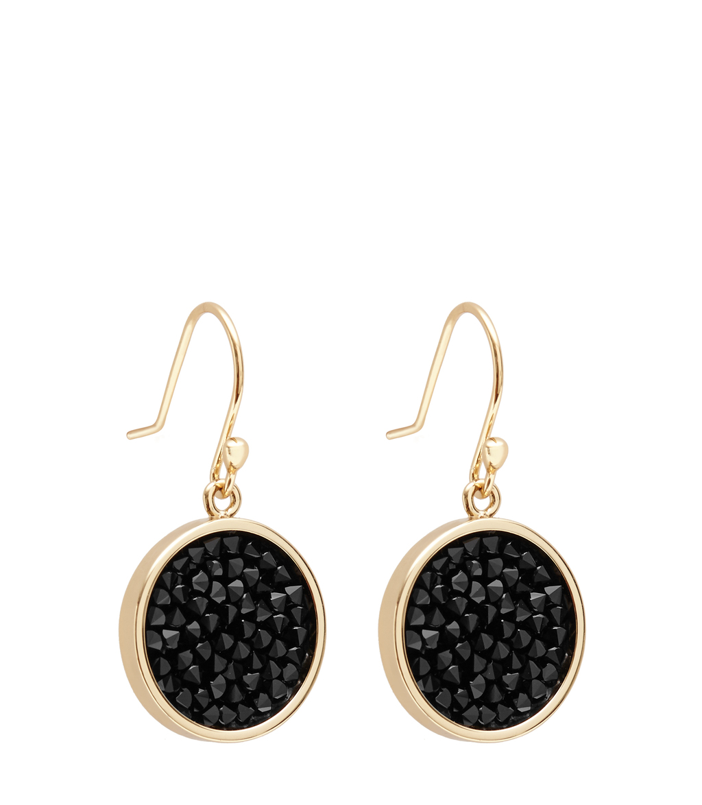 Rhea Womens Embellished Earrings With Crystals From Swarovski In Black - predominant colour: black; occasions: evening, occasion; style: drop; length: mid; size: small/fine; material: chain/metal; fastening: pierced; finish: plain; embellishment: crystals/glass; season: s/s 2016; wardrobe: event
