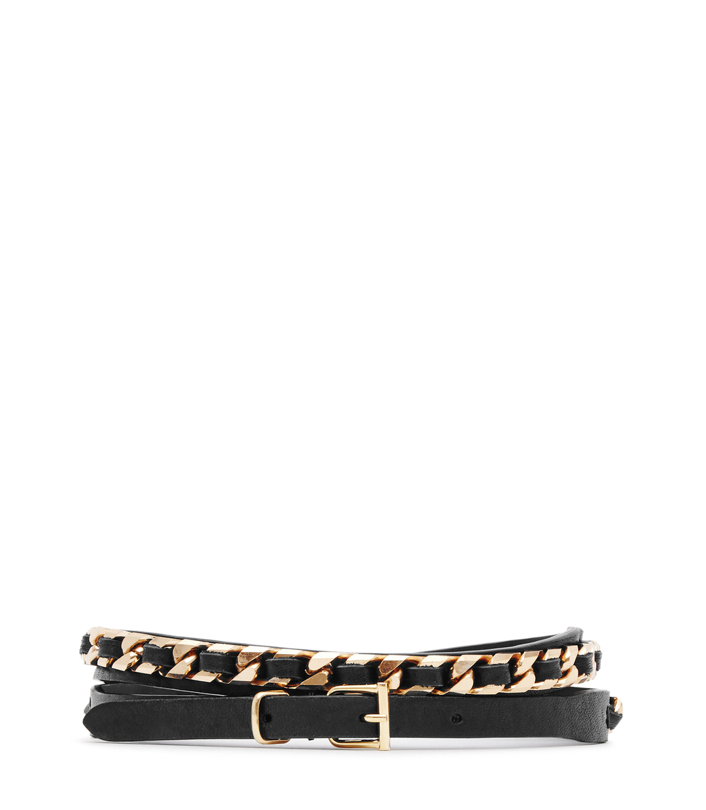 Freda Womens Chain Detail Belt In Black - secondary colour: gold; predominant colour: black; occasions: casual, creative work; type of pattern: standard; style: chainlink; size: skinny; worn on: hips; material: leather; pattern: plain; finish: plain; embellishment: chain/metal; season: s/s 2016