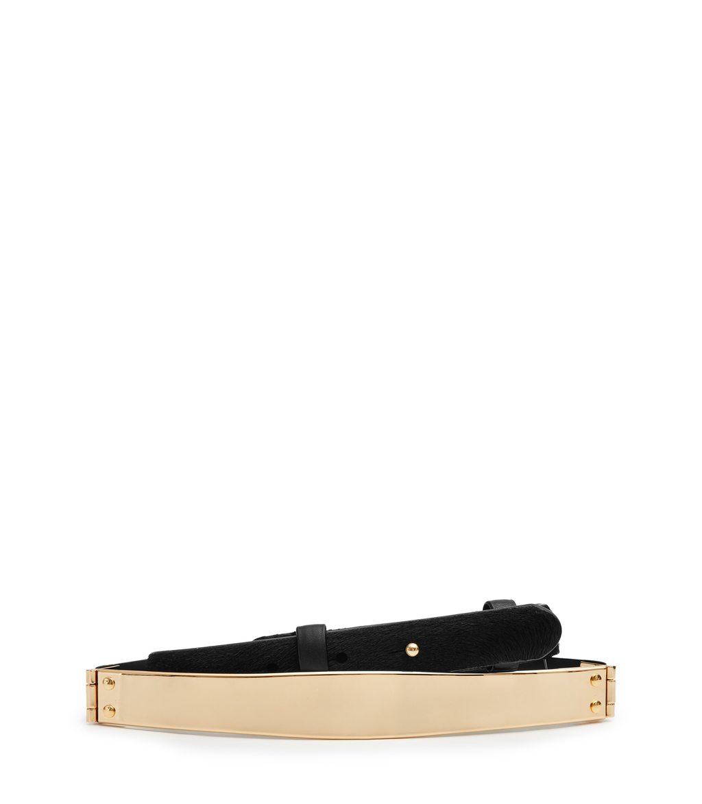 Shaftsbury Womens Calf Hair And Metal Belt In Black - predominant colour: ivory/cream; secondary colour: black; occasions: casual, creative work; type of pattern: standard; style: plaque; size: skinny; worn on: waist; material: leather; pattern: plain; finish: plain; season: s/s 2016; trends: metallics
