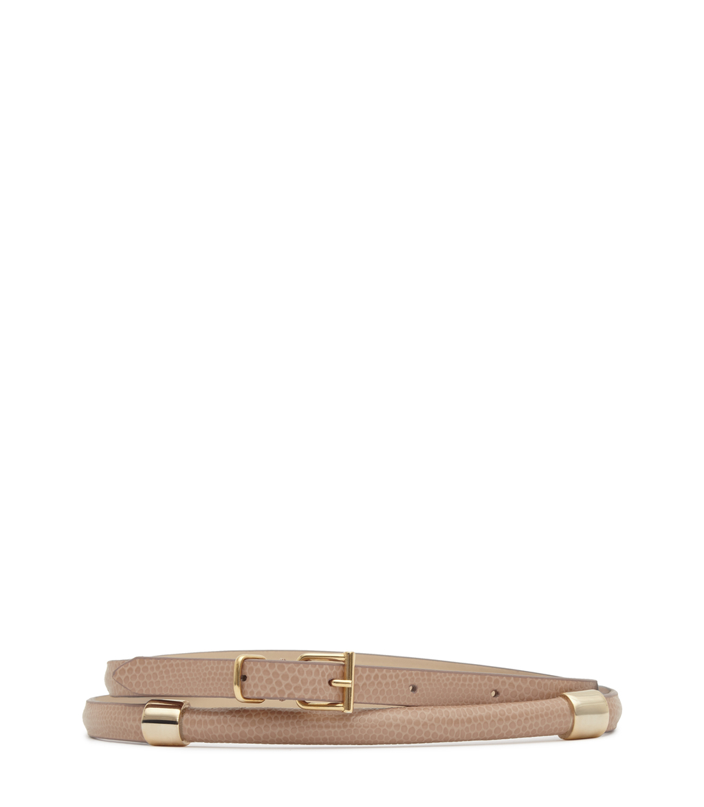 Miro Womens Metal Detail Belt In White - predominant colour: ivory/cream; occasions: casual, creative work; type of pattern: light; style: classic; size: skinny; worn on: hips; material: leather; pattern: animal print; finish: plain; season: s/s 2016