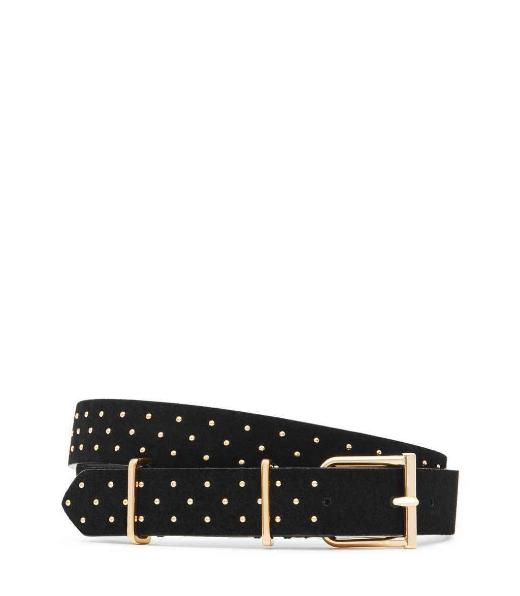 Theon Stud Womens Studded Suede Belt In Black - predominant colour: black; occasions: casual, creative work; type of pattern: light; embellishment: studs; style: classic; size: standard; worn on: hips; material: suede; pattern: plain; finish: plain; season: s/s 2016
