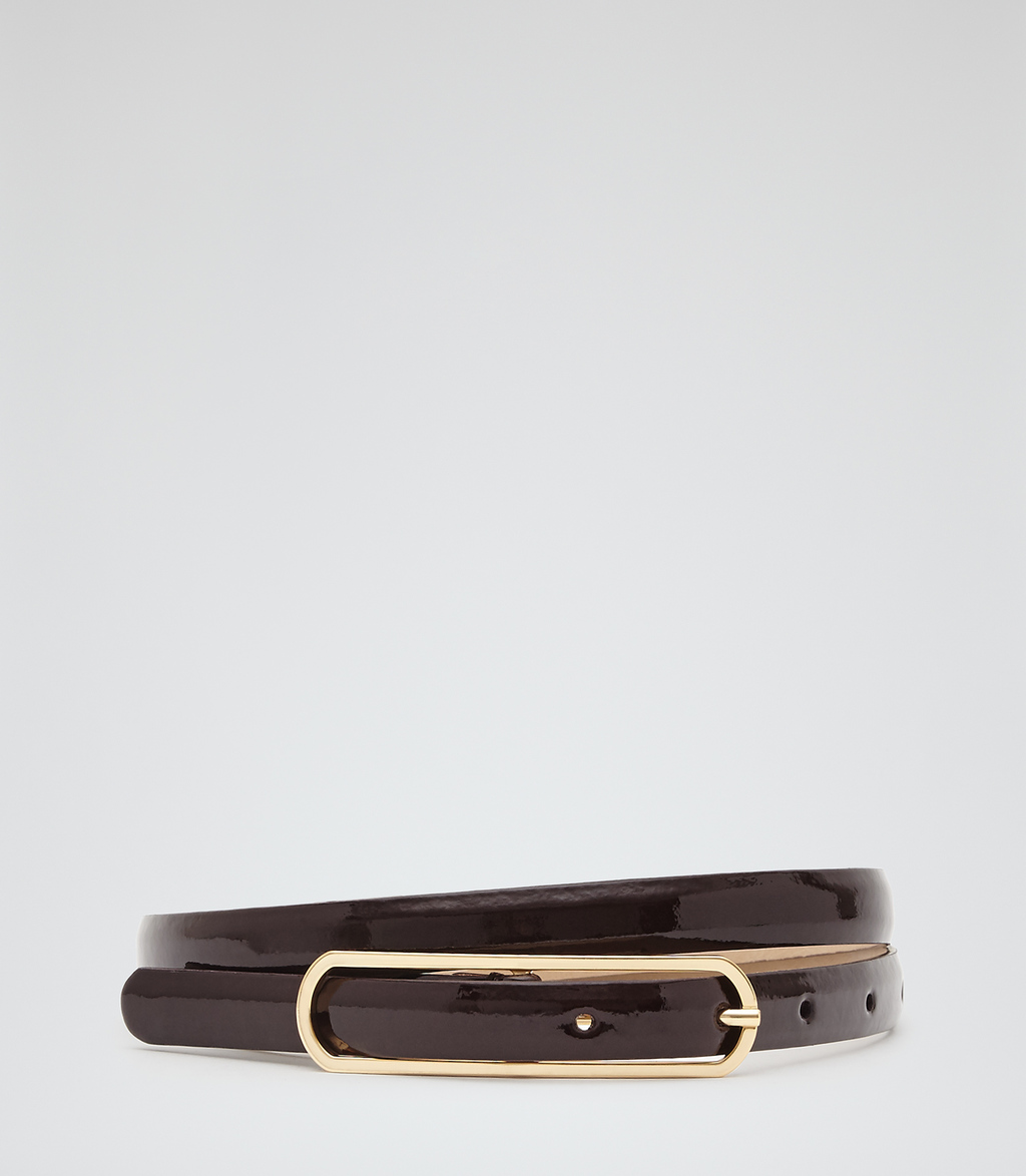 Lila Womens Patent Leather Belt In Red - secondary colour: gold; predominant colour: black; occasions: casual, creative work; type of pattern: light; style: classic; size: standard; worn on: hips; material: leather; pattern: plain; finish: plain; season: s/s 2016