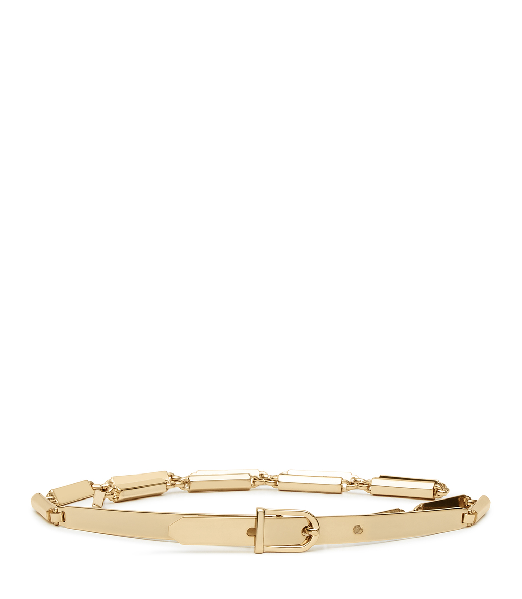Charlie Womens Metal Chain Belt In Yellow - predominant colour: gold; occasions: casual, creative work; type of pattern: standard; style: classic; size: standard; worn on: hips; material: leather; pattern: plain; finish: metallic; season: s/s 2016