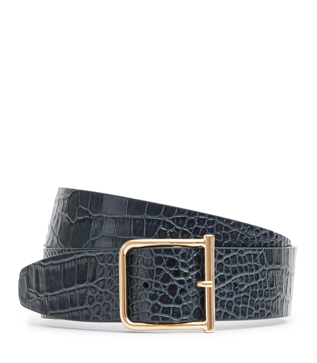 Otis Croc Womens Wide Leather Belt In Blue - predominant colour: navy; occasions: casual, creative work; type of pattern: standard; style: classic; size: standard; worn on: hips; material: leather; pattern: plain; finish: plain; season: s/s 2016