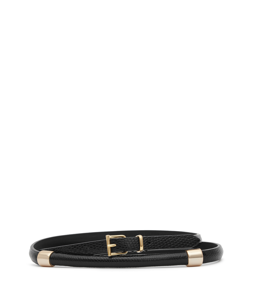 Miro Womens Metal Detail Belt In Black - predominant colour: black; occasions: casual, creative work; type of pattern: standard; style: classic; size: standard; worn on: hips; material: leather; pattern: plain; finish: plain; season: s/s 2016