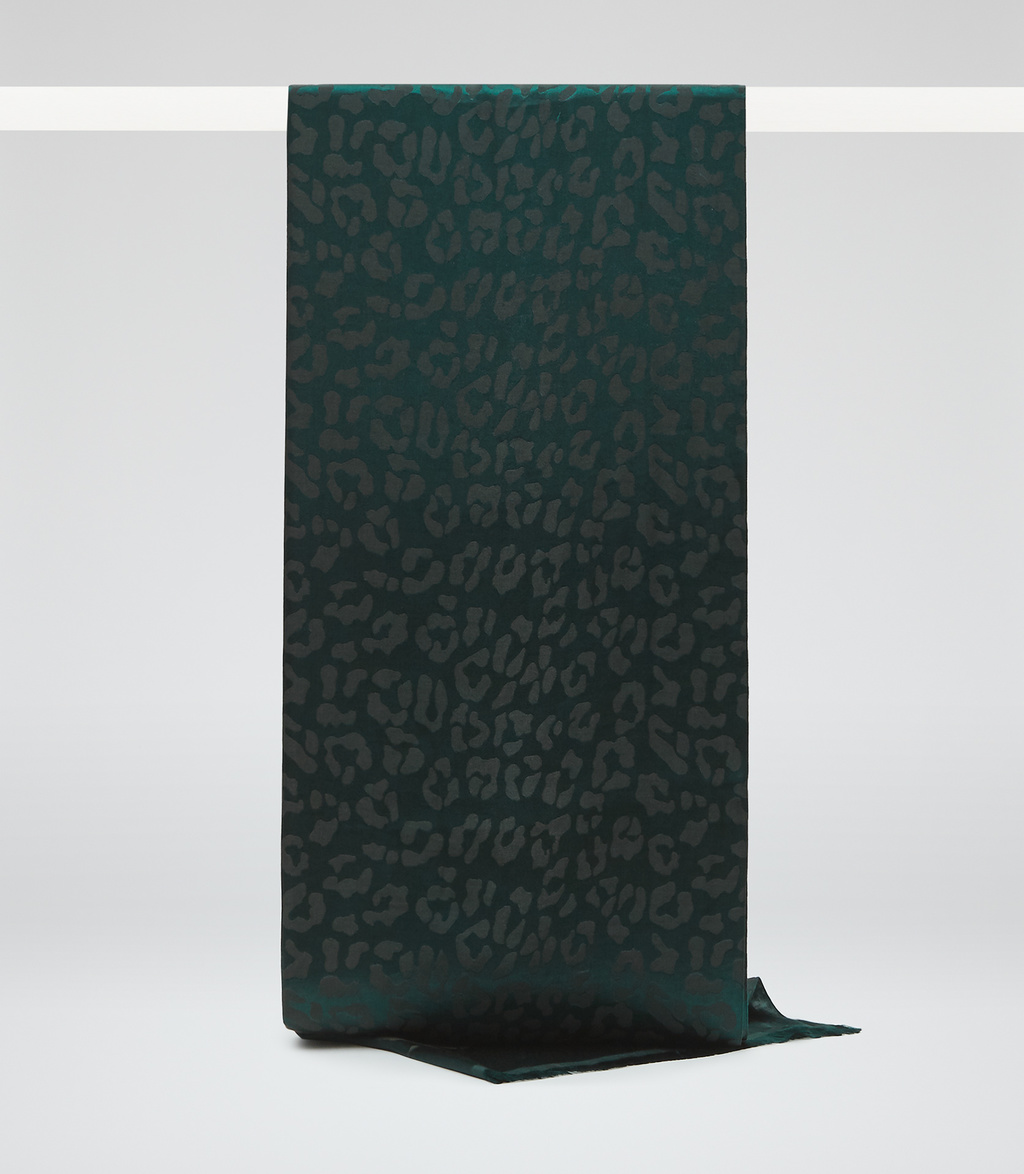 Mindy Womens Jacquard Scarf In Green - predominant colour: dark green; occasions: casual; type of pattern: standard; style: regular; size: standard; material: fabric; pattern: plain; season: s/s 2016; wardrobe: highlight