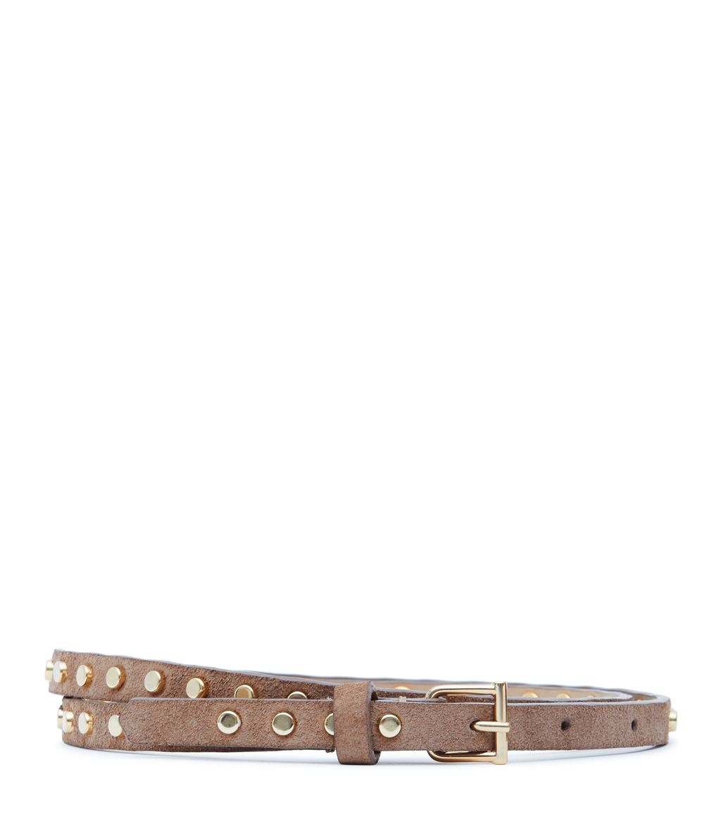 Ina Womens Skinny Studded Belt In White - predominant colour: taupe; occasions: casual, creative work; type of pattern: standard; embellishment: studs; style: classic; size: skinny; worn on: hips; material: faux leather; pattern: plain; finish: plain; season: s/s 2016