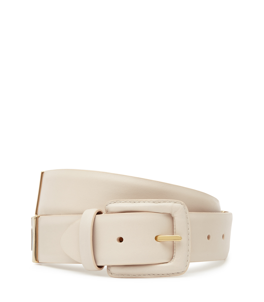 Joni Womens Buckle Detail Belt In White - predominant colour: ivory/cream; occasions: casual, creative work; type of pattern: standard; style: classic; size: standard; worn on: hips; material: leather; pattern: plain; finish: plain; season: s/s 2016