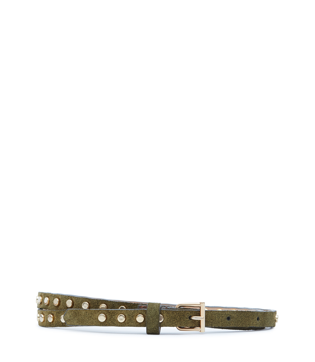 Ina Womens Skinny Studded Belt In Green - predominant colour: khaki; occasions: casual, creative work; type of pattern: light; embellishment: studs; style: classic; size: skinny; worn on: hips; material: leather; pattern: plain; finish: plain; season: s/s 2016