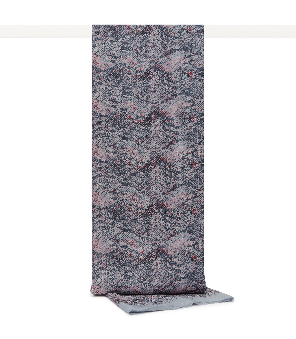 Terri Womens Printed Scarf In Grey - predominant colour: mid grey; occasions: casual; type of pattern: standard; style: regular; size: standard; material: fabric; pattern: patterned/print; season: s/s 2016; wardrobe: highlight