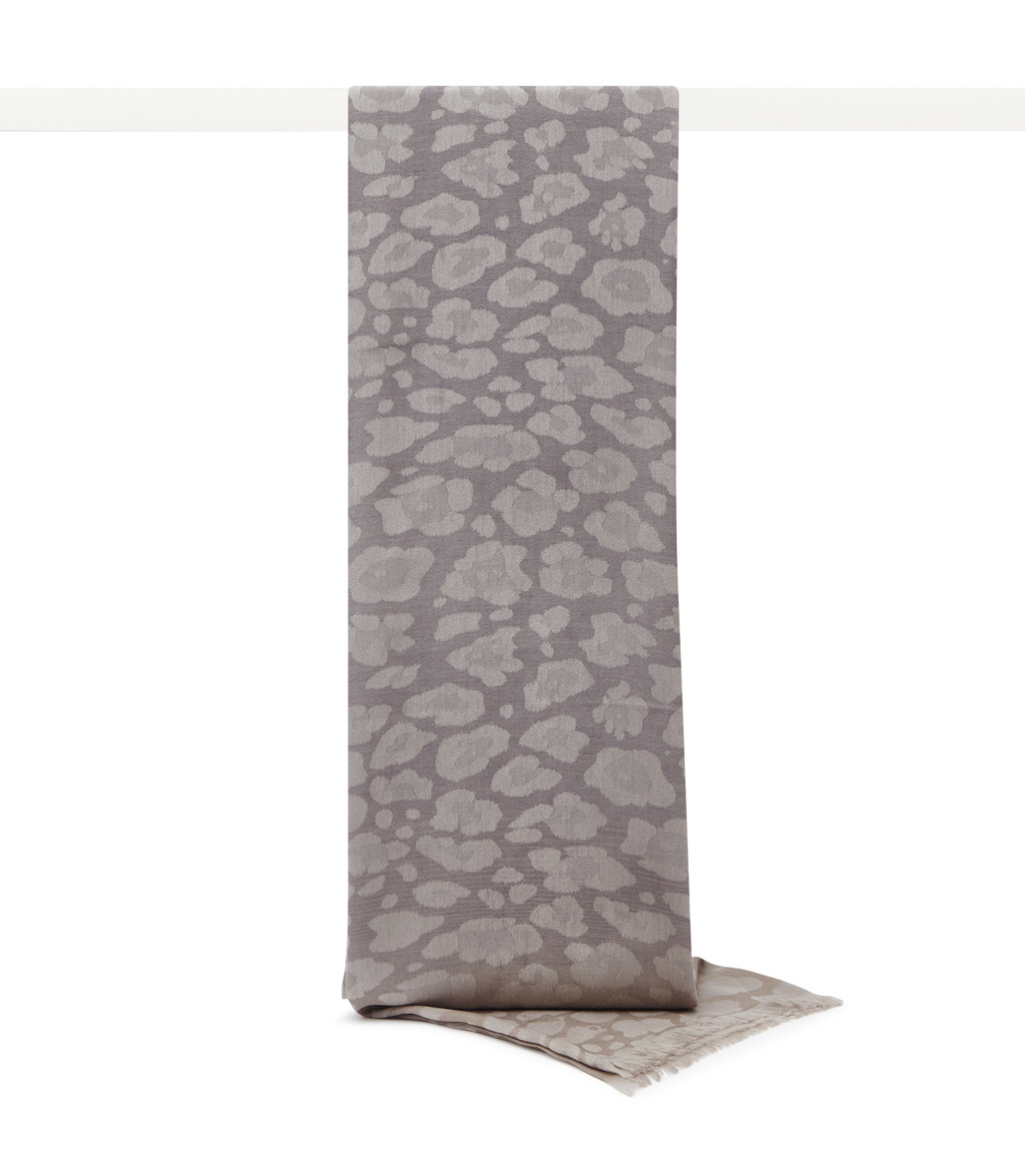 Higgins Womens Woven Scarf In Brown - predominant colour: taupe; occasions: casual; type of pattern: light; style: pashmina; size: standard; material: fabric; pattern: animal print; season: s/s 2016; wardrobe: highlight
