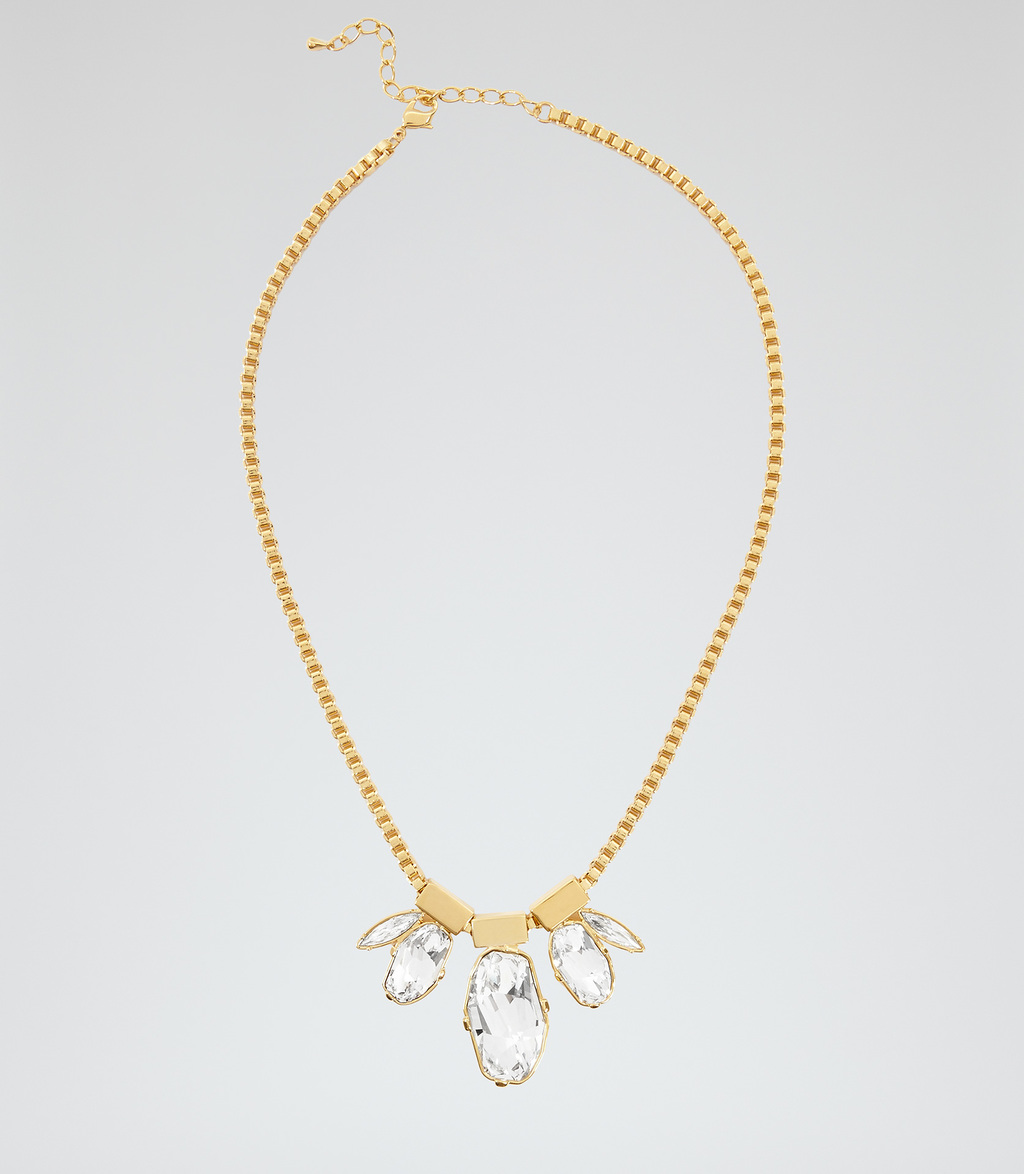 Anastacia Womens Necklace With Crystals From Swarovski In White - predominant colour: gold; occasions: evening; style: pendant; length: mid; size: standard; material: chain/metal; finish: metallic; embellishment: crystals/glass; season: s/s 2016; wardrobe: event