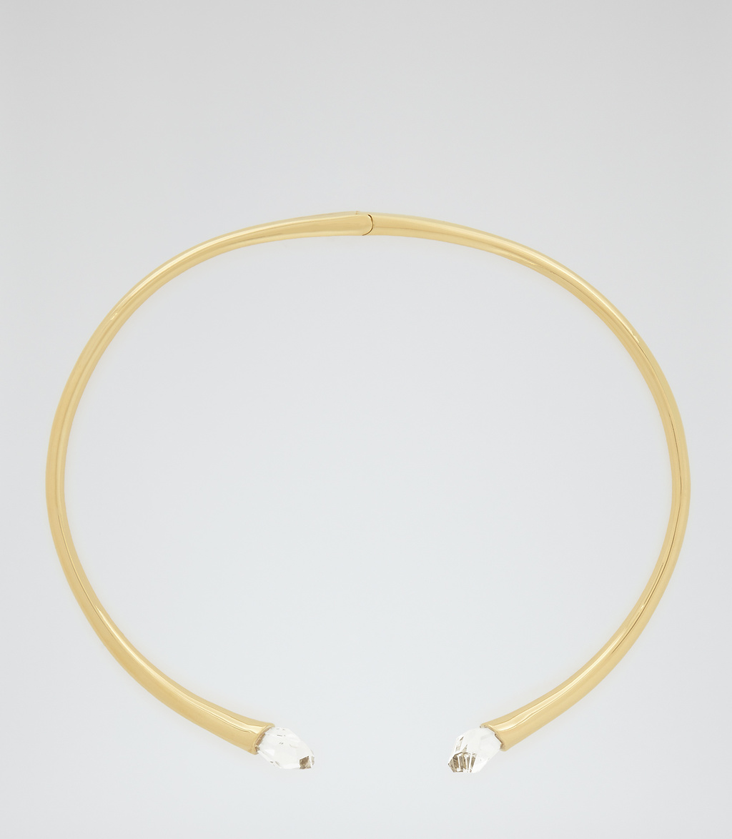 Cleo Womens Choker With Crystals From Swarovski In Brown - predominant colour: gold; occasions: evening; style: choker/collar/torque; length: choker; size: standard; material: chain/metal; finish: metallic; embellishment: crystals/glass; season: s/s 2016; wardrobe: event