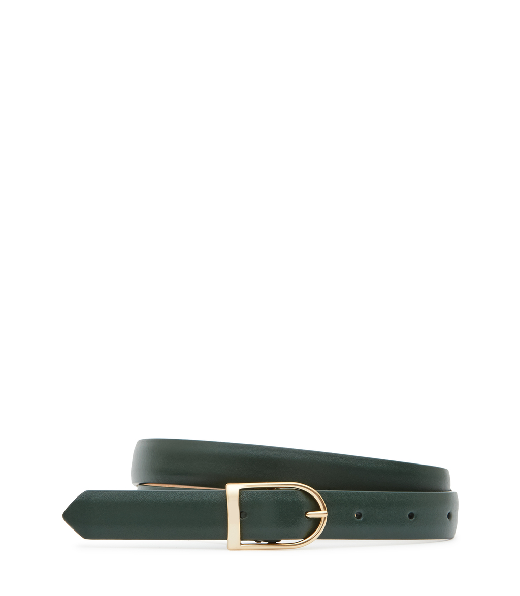 Sullivan Womens Slim Leather Belt In Green - predominant colour: dark green; occasions: casual; type of pattern: standard; style: classic; size: standard; worn on: hips; material: leather; pattern: plain; finish: plain; season: s/s 2016
