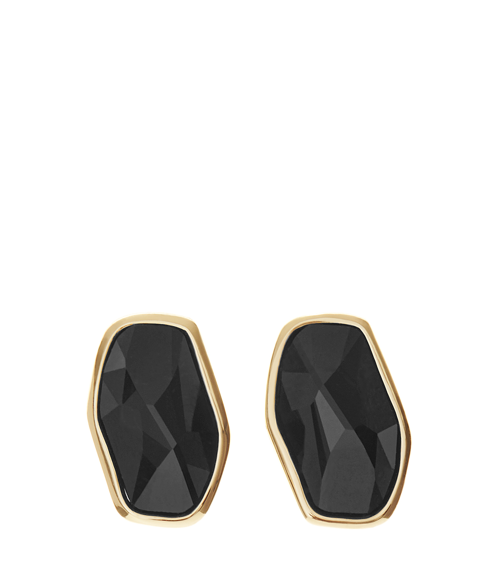 Astrid Womens Stud Earrings With Crystals From Swarovski In Black - secondary colour: gold; predominant colour: black; occasions: evening, occasion; style: stud; length: short; size: small/fine; material: chain/metal; fastening: pierced; finish: metallic; embellishment: jewels/stone; season: s/s 2016; wardrobe: event