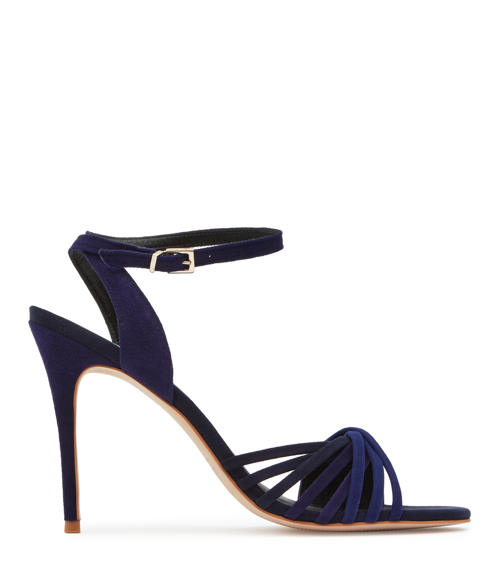 Billie Womens Twist Front Sandals In Blue - predominant colour: navy; occasions: evening; material: leather; ankle detail: ankle strap; heel: stiletto; toe: open toe/peeptoe; style: strappy; finish: plain; pattern: plain; heel height: very high; season: s/s 2016; wardrobe: event