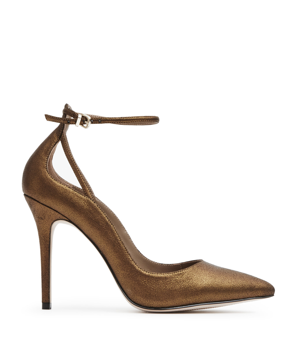 Leighton Metallic Womens Ankle Strap Shoes In Brown - predominant colour: bronze; occasions: evening, occasion, creative work; material: leather; heel: stiletto; toe: pointed toe; style: courts; finish: metallic; pattern: plain; heel height: very high; season: s/s 2016; wardrobe: highlight