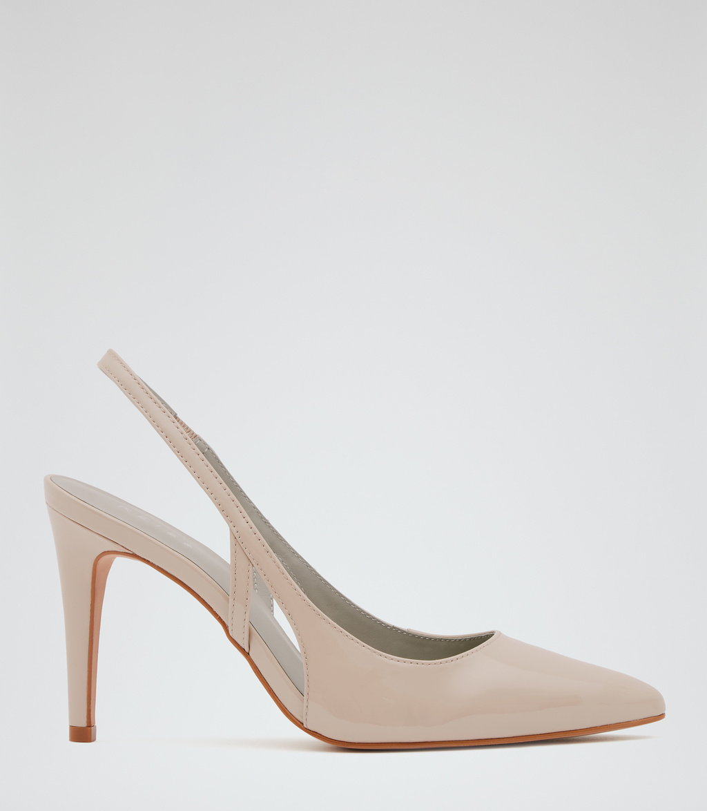 Allison Womens Patent Leather Shoes In White - predominant colour: camel; occasions: evening, occasion, creative work; material: leather; heel height: high; heel: stiletto; toe: pointed toe; style: slingbacks; finish: patent; pattern: plain; season: s/s 2016