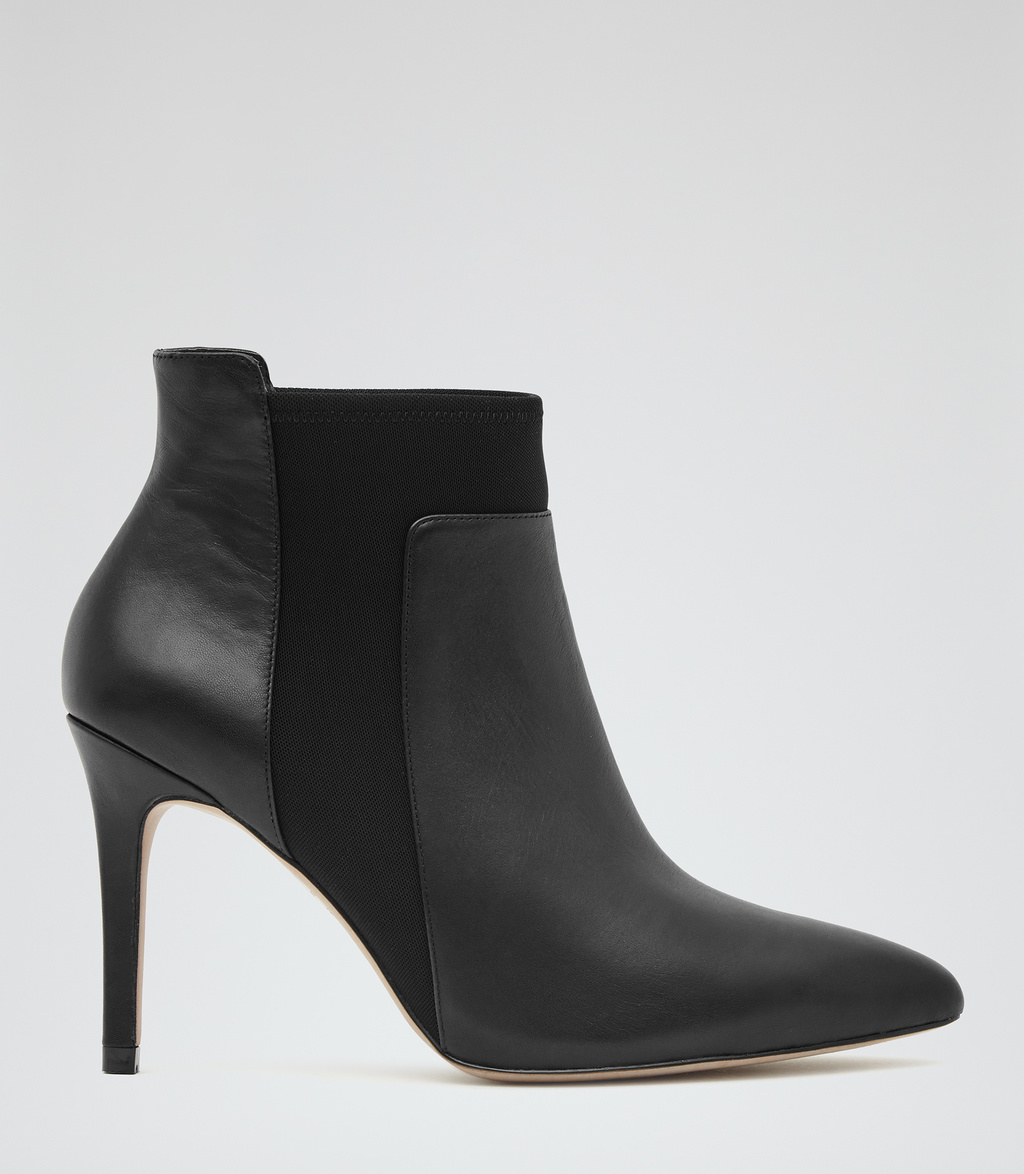 Leander Womens Leather And Neoprene Boots In Black - predominant colour: black; occasions: casual, creative work; material: leather; heel: stiletto; toe: pointed toe; boot length: ankle boot; finish: plain; pattern: plain; heel height: very high; style: chelsea; season: s/s 2016; wardrobe: highlight