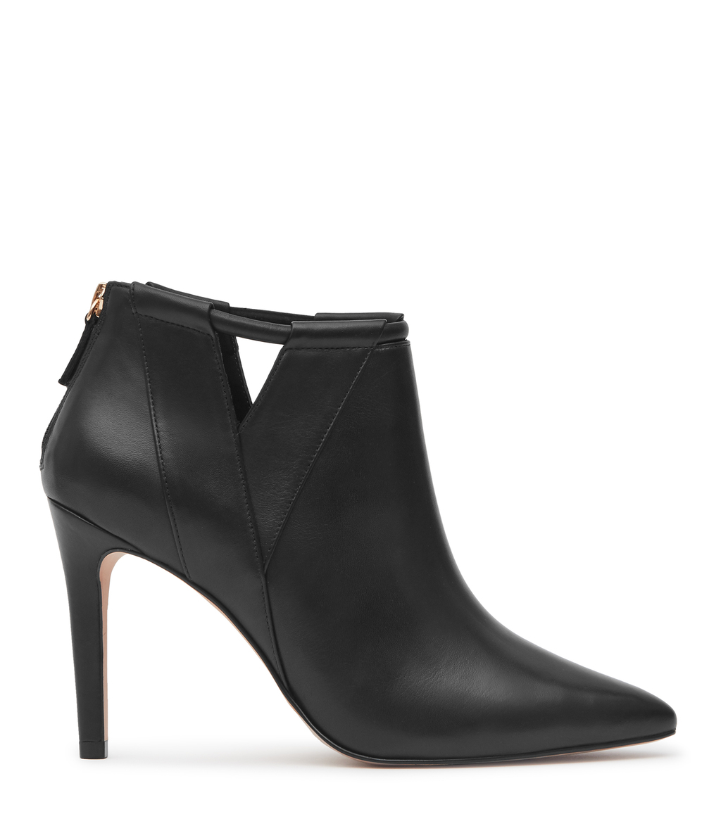 Nicola Womens Point Toe Ankle Boots In Black - predominant colour: black; occasions: casual, creative work; material: leather; heel: stiletto; toe: pointed toe; boot length: ankle boot; style: standard; finish: plain; pattern: plain; heel height: very high; season: s/s 2016; wardrobe: highlight