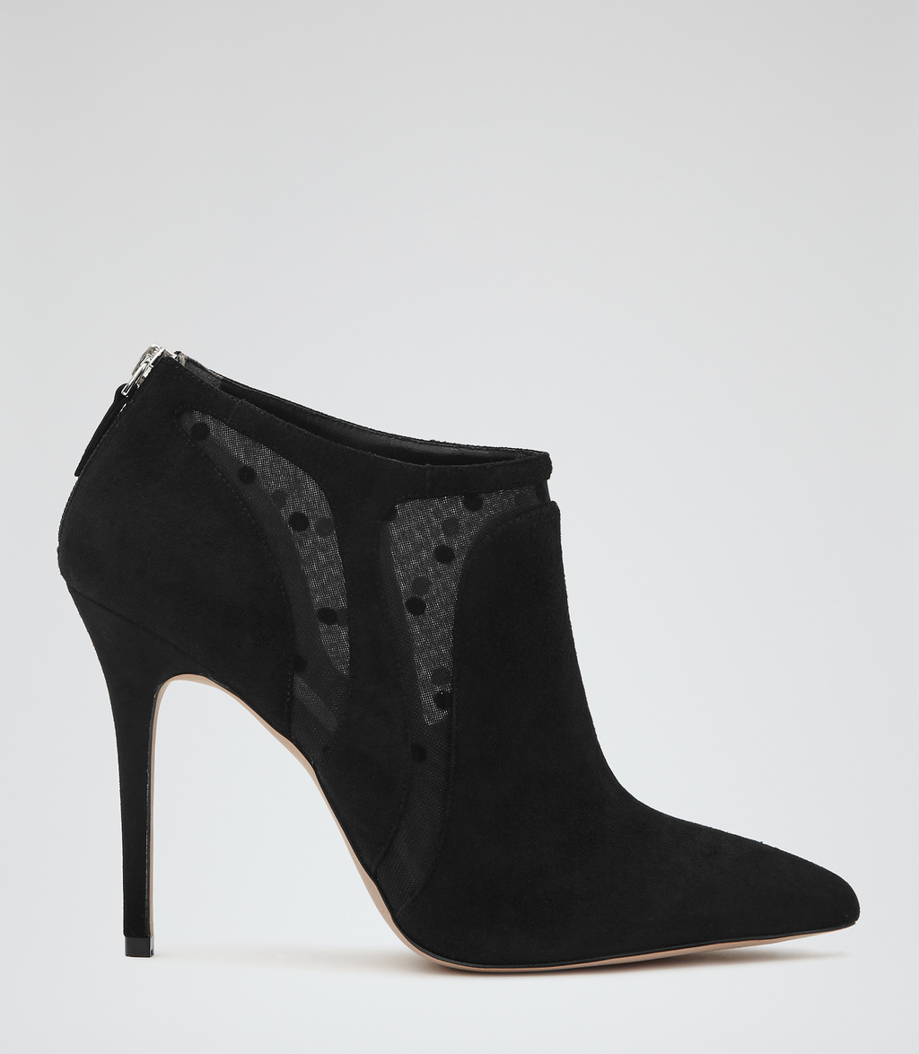 Bay Womens Suede Ankle Boots In Black - predominant colour: black; occasions: casual, evening, creative work; material: suede; heel: stiletto; toe: pointed toe; boot length: ankle boot; style: standard; finish: plain; pattern: plain; heel height: very high; season: s/s 2016; wardrobe: highlight