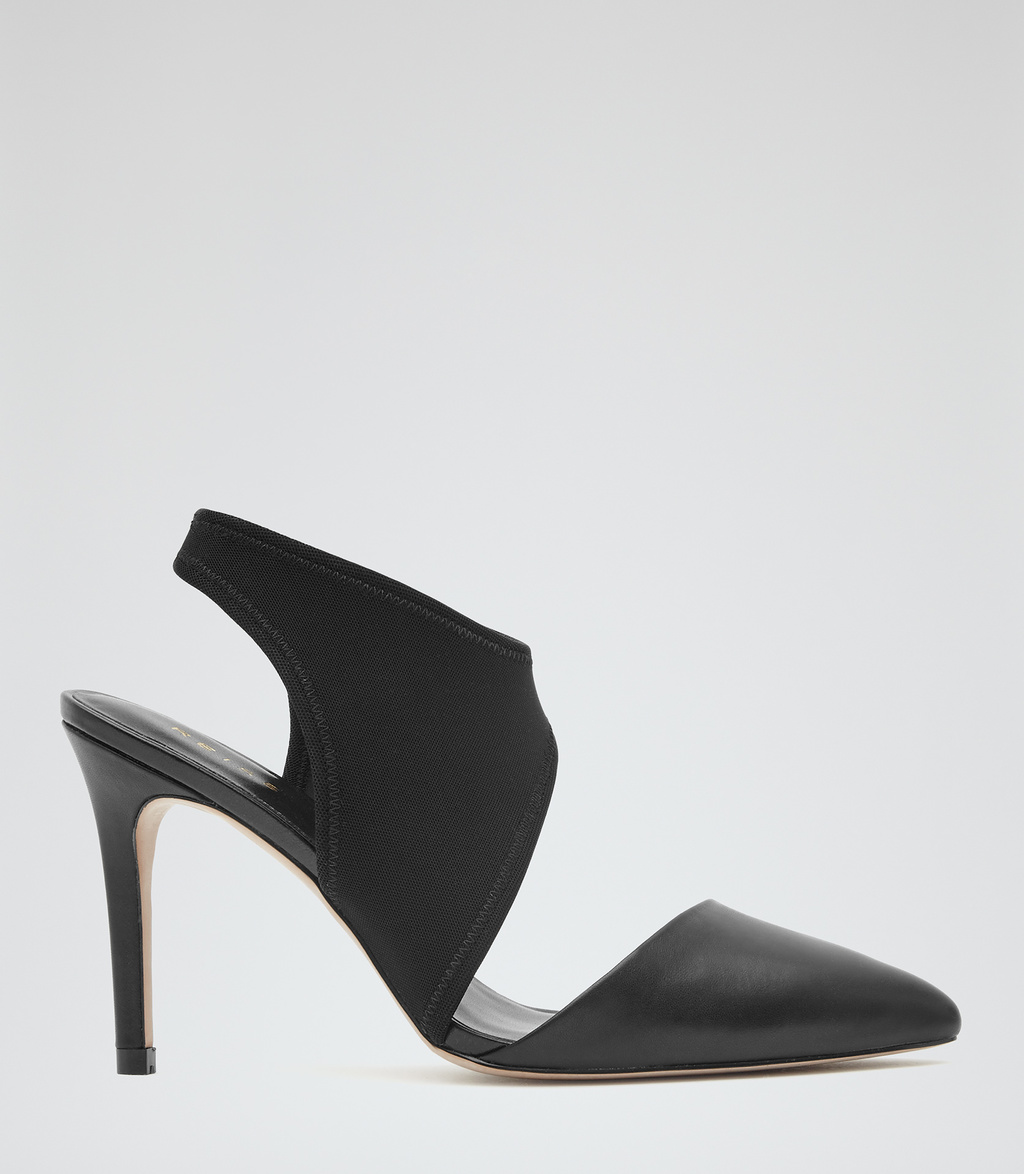 Atlas Womens Leather And Neoprene Shoes In Black - predominant colour: black; occasions: evening, occasion; material: leather; heel height: high; heel: stiletto; toe: pointed toe; style: slingbacks; finish: plain; pattern: plain; season: s/s 2016; wardrobe: event
