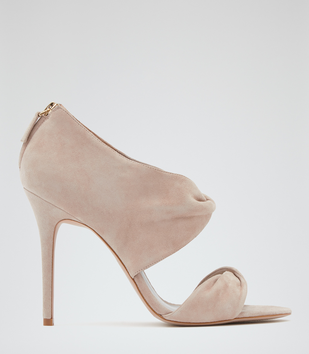 Daphne Womens Wrap Detail Sandals In White - predominant colour: blush; occasions: evening; material: suede; heel height: high; heel: stiletto; toe: open toe/peeptoe; style: standard; finish: plain; pattern: plain; season: s/s 2016; wardrobe: event