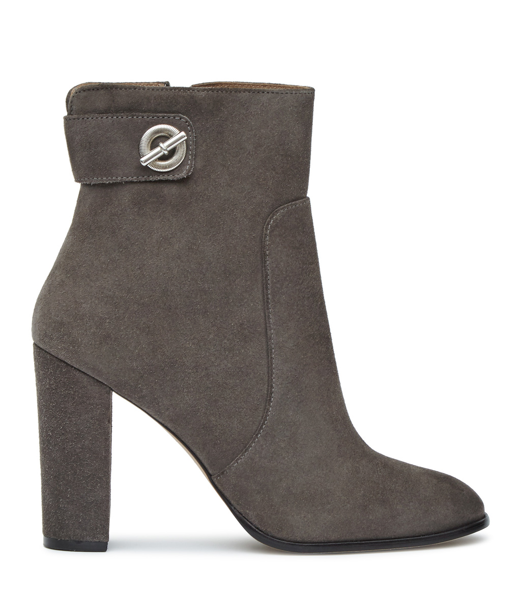 Hepworth Suede Womens Suede Ankle Boots In Grey - predominant colour: mid grey; occasions: evening, creative work; material: shearling; heel height: high; heel: block; toe: round toe; boot length: ankle boot; style: standard; finish: plain; pattern: plain; season: s/s 2016