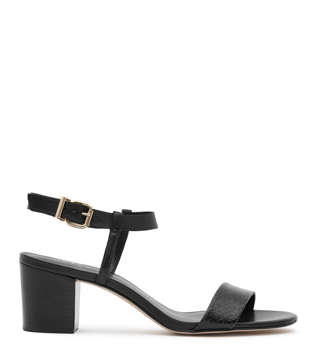 Vivi Womens Block Mid Heel Sandals In Black - predominant colour: black; occasions: casual, holiday; material: leather; heel height: mid; ankle detail: ankle strap; heel: block; toe: open toe/peeptoe; style: standard; finish: plain; pattern: plain; season: s/s 2016; wardrobe: investment