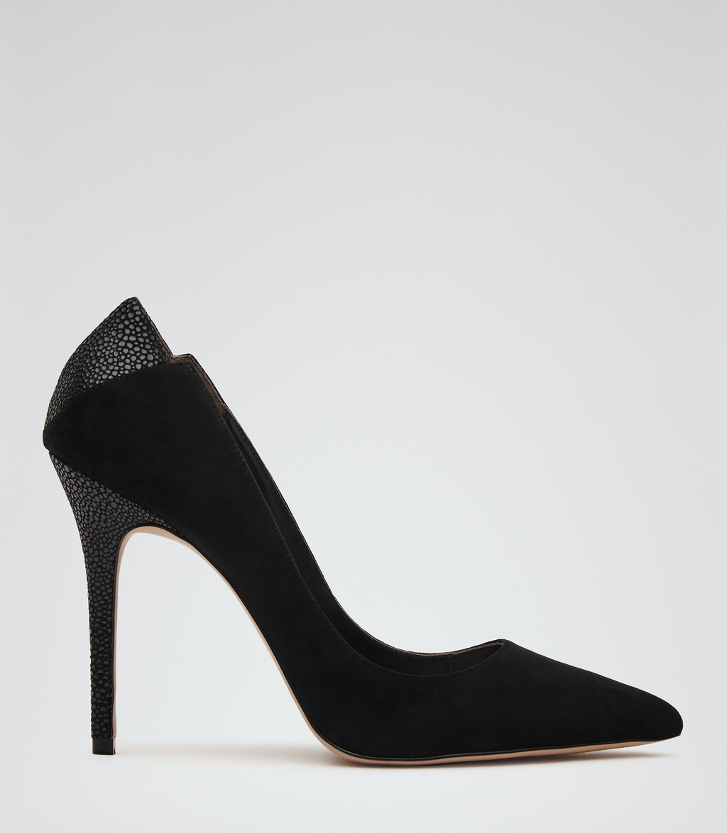 Jaime Suede Womens Patterned Court Shoes In Black - predominant colour: black; occasions: evening, work, occasion; material: suede; heel: stiletto; toe: pointed toe; style: courts; finish: plain; pattern: plain; heel height: very high; season: s/s 2016; wardrobe: highlight
