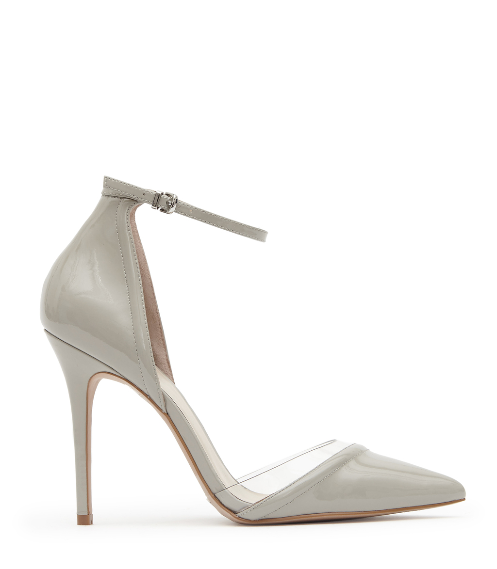 Gaia Patent Womens Patent Leather And Vinyl Shoes In Grey - predominant colour: silver; occasions: evening; material: leather; heel height: high; ankle detail: ankle strap; heel: stiletto; toe: pointed toe; style: courts; finish: patent; pattern: plain; season: s/s 2016; wardrobe: event
