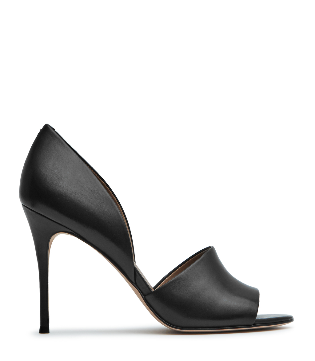 Mayton Womens Peep Toe Sandals In Black - predominant colour: black; occasions: evening, occasion; material: leather; heel: stiletto; toe: open toe/peeptoe; style: standard; finish: plain; pattern: plain; heel height: very high; season: s/s 2016; wardrobe: event