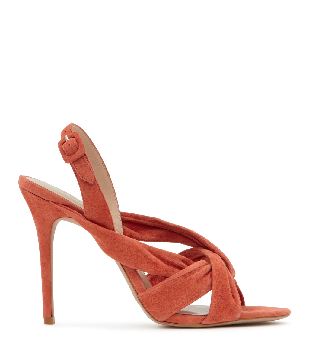 Rhiannon Womens Suede Sandals In Red - predominant colour: bright orange; occasions: evening, occasion; material: suede; heel: stiletto; toe: open toe/peeptoe; style: strappy; finish: plain; pattern: plain; heel height: very high; season: s/s 2016; wardrobe: event