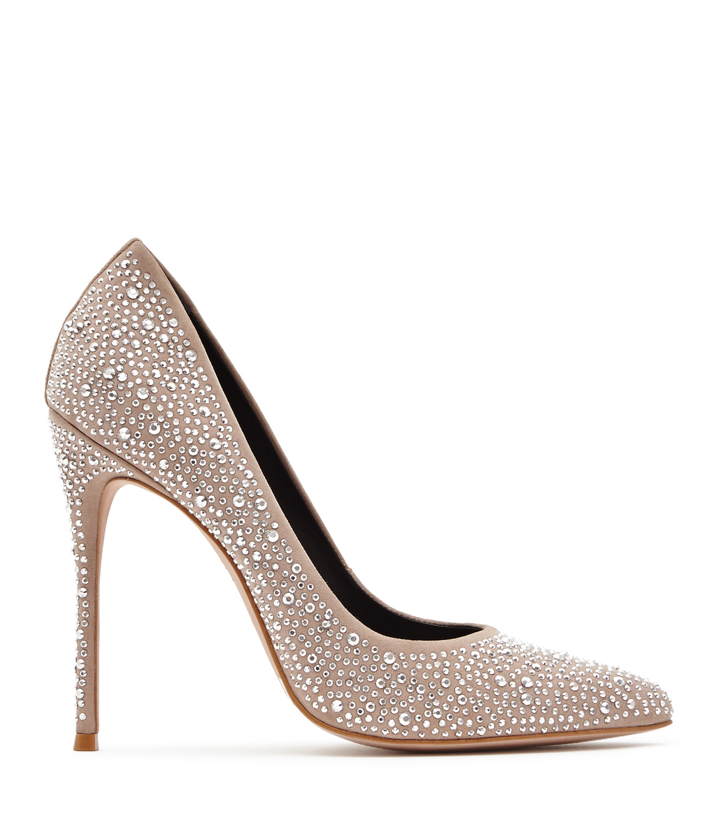 Marilyn Womens Crystal Embellished Shoes In White - predominant colour: taupe; occasions: evening, occasion; material: leather; embellishment: crystals/glass; heel: stiletto; toe: pointed toe; style: courts; finish: plain; pattern: plain; heel height: very high; season: s/s 2016; wardrobe: event