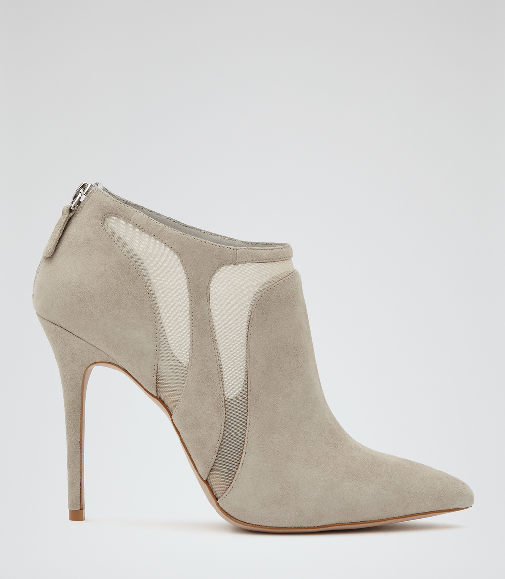 Bay Womens Suede Ankle Boots In Grey - predominant colour: light grey; occasions: evening, creative work; material: suede; heel height: high; heel: stiletto; toe: pointed toe; boot length: ankle boot; style: standard; finish: plain; pattern: plain; season: s/s 2016; wardrobe: highlight