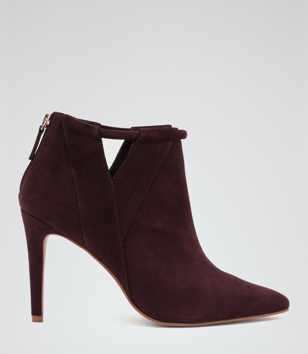 Nicola Womens Point Toe Ankle Boots In Red - predominant colour: burgundy; occasions: evening, creative work; material: suede; heel height: high; heel: stiletto; toe: pointed toe; boot length: ankle boot; style: standard; finish: plain; pattern: plain; season: s/s 2016; wardrobe: highlight