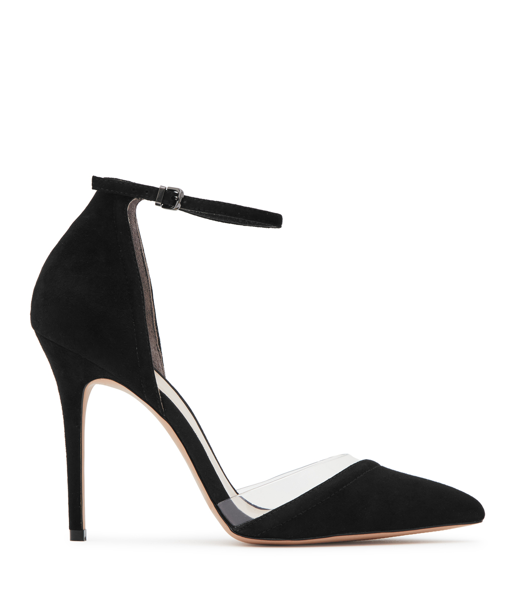 Gaia Womens Suede And Vinyl Shoes In Black - predominant colour: black; occasions: evening; material: suede; heel height: high; ankle detail: ankle strap; heel: stiletto; toe: pointed toe; style: courts; finish: plain; pattern: plain; season: s/s 2016