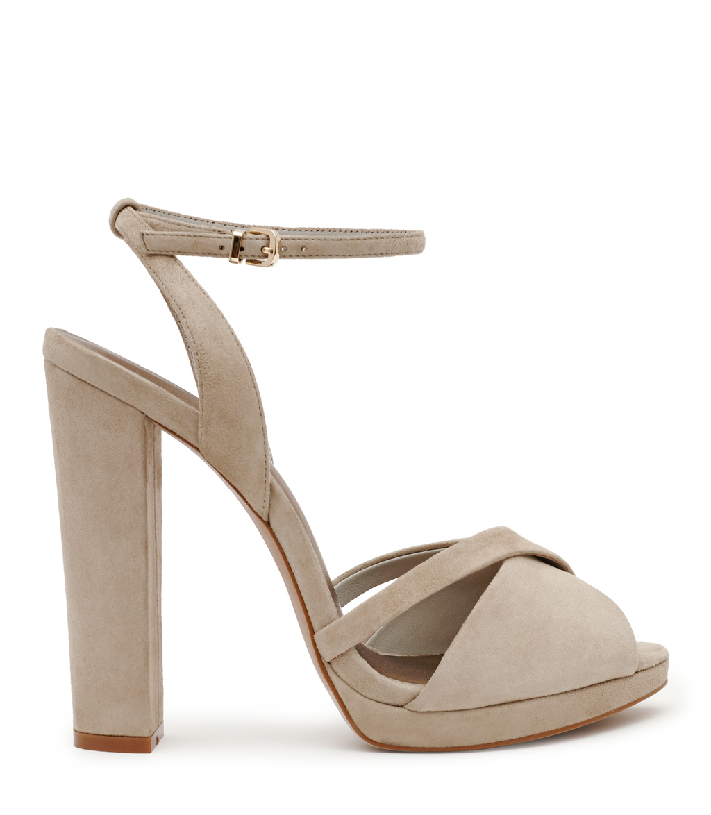 Audrey Womens Block Heel Sandals In White - predominant colour: taupe; occasions: evening, occasion; material: suede; ankle detail: ankle strap; heel: block; toe: open toe/peeptoe; style: strappy; finish: plain; pattern: plain; heel height: very high; shoe detail: platform; season: s/s 2016; wardrobe: event