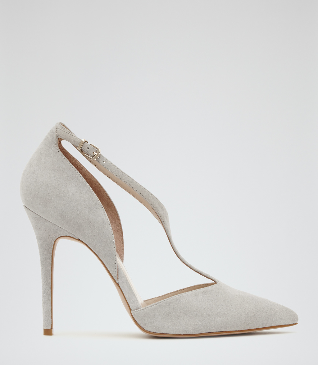 Kate Womens Strappy Suede Court Shoes In Grey - predominant colour: light grey; occasions: evening; material: suede; heel height: high; heel: stiletto; toe: pointed toe; style: courts; finish: plain; pattern: plain; season: s/s 2016; wardrobe: event