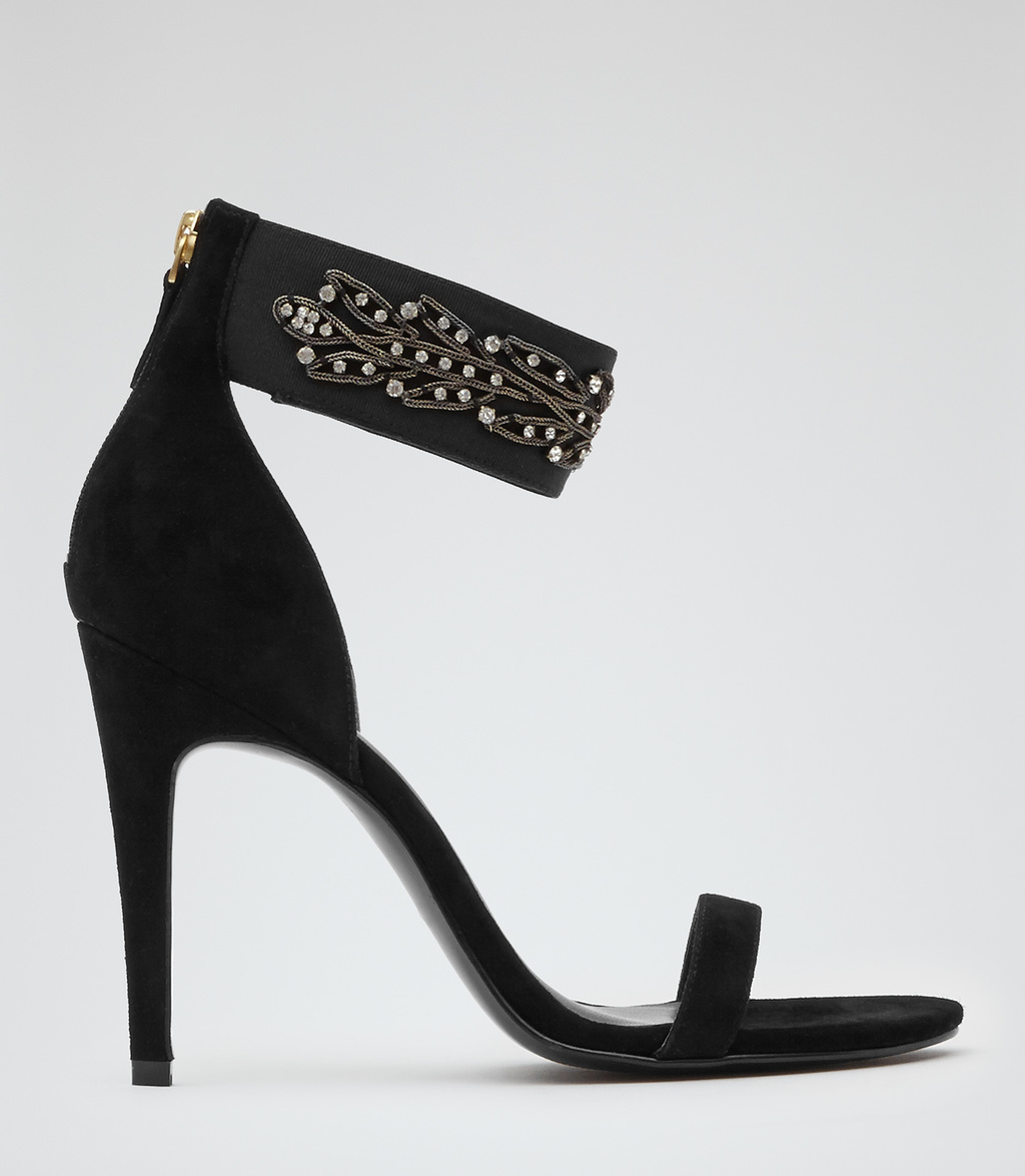 Albemarle Womens Embellished Heeled Sandals In Black - predominant colour: black; occasions: evening, occasion; material: suede; embellishment: crystals/glass; ankle detail: ankle strap; heel: stiletto; toe: open toe/peeptoe; style: standard; finish: plain; pattern: plain; heel height: very high; season: s/s 2016; wardrobe: event