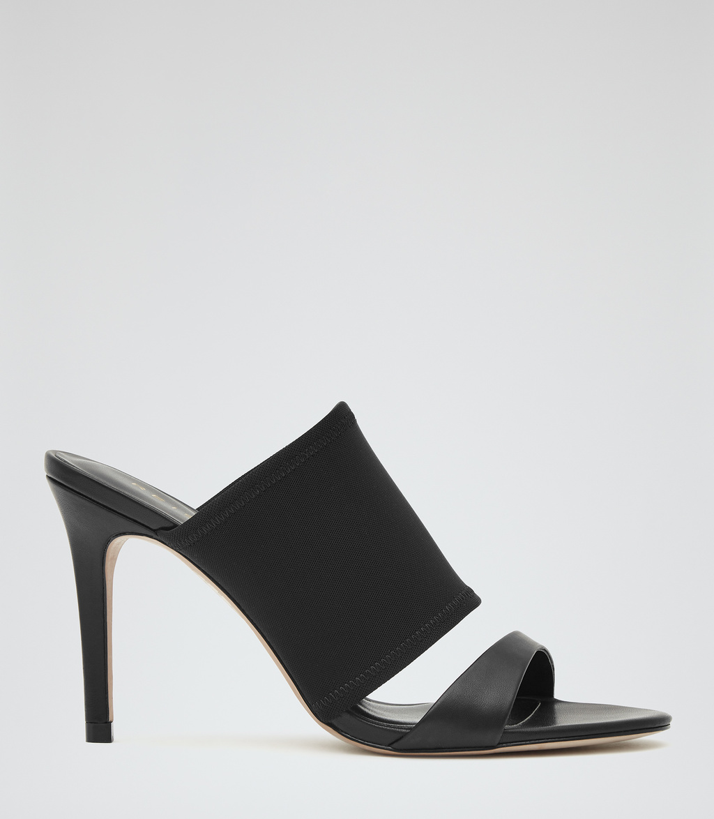 Brie Womens Leather And Neoprene Sandals In Black - predominant colour: black; occasions: evening, occasion, holiday; material: leather; heel: stiletto; toe: open toe/peeptoe; style: slides; finish: plain; pattern: plain; heel height: very high; season: s/s 2016; wardrobe: highlight