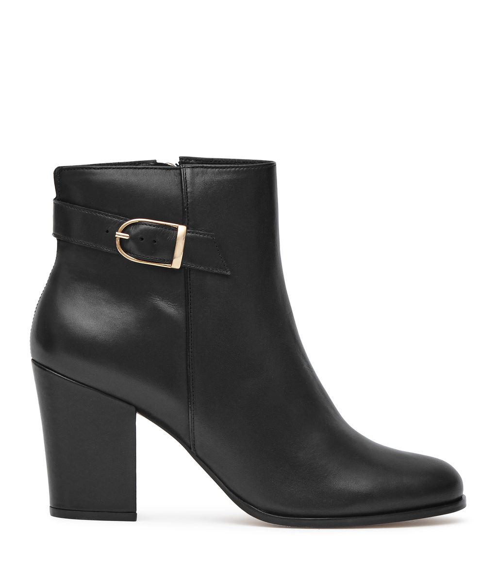 Mason Womens Buckle Strap Boots In Black - predominant colour: black; occasions: casual, creative work; material: leather; heel height: high; heel: block; toe: round toe; boot length: ankle boot; style: standard; finish: plain; pattern: plain; season: s/s 2016; wardrobe: highlight