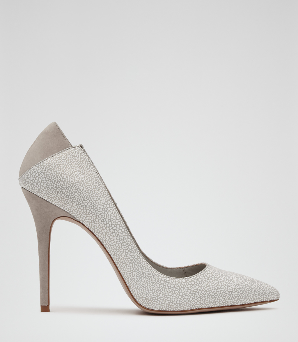 Jaime Womens Patterned Court Shoes In White - predominant colour: light grey; occasions: evening; material: leather; heel height: high; heel: stiletto; toe: pointed toe; style: courts; finish: plain; pattern: plain; season: s/s 2016; wardrobe: event