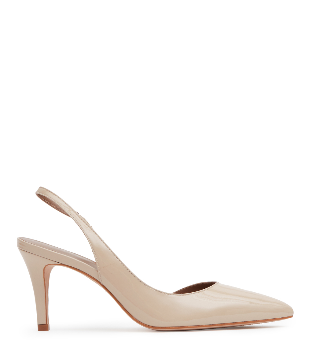 Alexa Womens Mid Heel Court Shoes In White - predominant colour: nude; occasions: evening; material: leather; heel height: high; heel: stiletto; toe: pointed toe; style: slingbacks; finish: patent; pattern: plain; season: s/s 2016; wardrobe: event