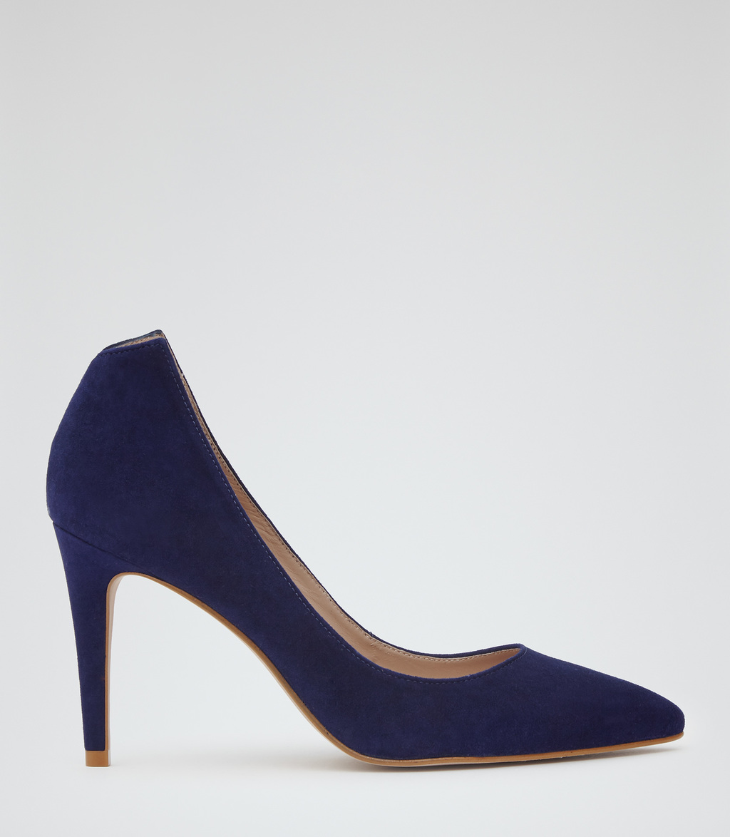 Gabi Womens Point Toe Court Shoes In Blue - predominant colour: navy; occasions: evening; material: leather; heel height: high; heel: stiletto; toe: pointed toe; style: courts; finish: plain; pattern: plain; season: s/s 2016; wardrobe: event